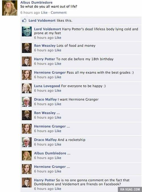 Harry Potter on Facebook – Dumbledore and Voldemort