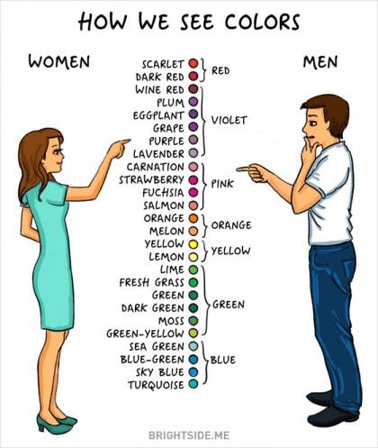 The Difference Between Men and Women choosing colours