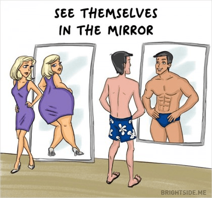 The Difference Between Men and Women looking in the mirror