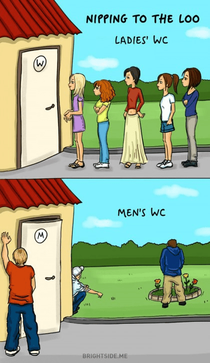 The Difference Between Men and Women answering a call of nature