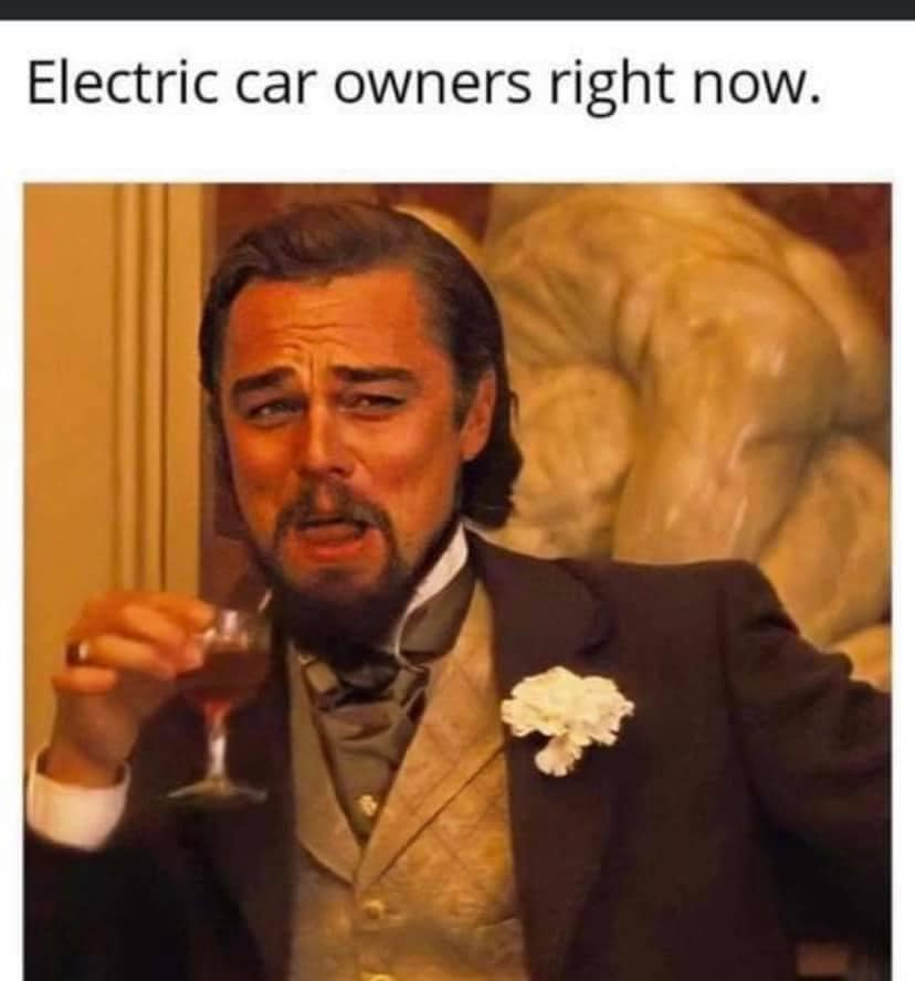 Electric car owners and the fuel crisis meme