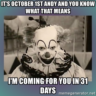The clowns are out on October 1st